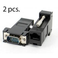 Extensor VGA (2 pcs) via cabo de rede rj45 até 20 metros
