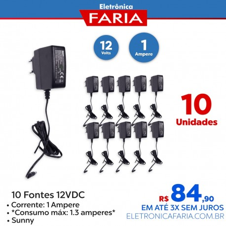 Kit 10 - Fonte 12vdc 1 ampere Chaveada 127v/220v - Sunny