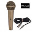 Microfone Profissional Dinâmico LS-58 LESON - Metal - Cabo com 10 metros (Conectores em metal)