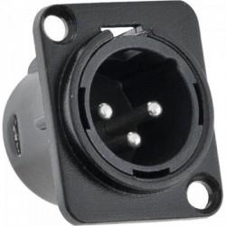 XLR Canon Macho de metal para Painel